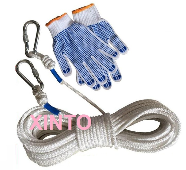 8MM,60M+2pcs safety hook+glove outdoor camping rope mountaineering rope life saving safety Tensioning Belt(China (Mainland))