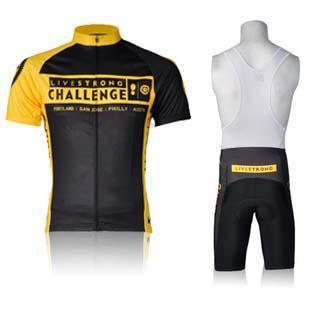Livestrong Challenge Men Cycling Jersey Suit Stylish Yellow Bicycle Wear Shirt and Black Bib Pants(China (Mainland))