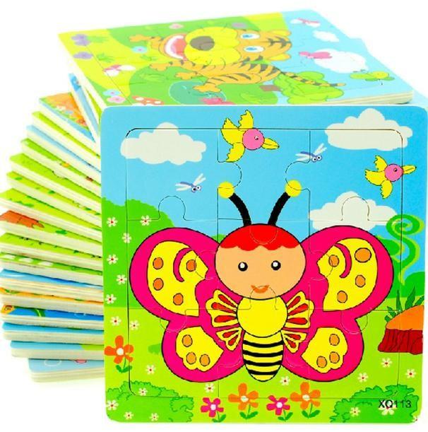 Wooden 9 Parts Educational Animals Vehicles Butterfly Beetles Tiger Bird Panda Giraffe Puzzle Toys(China (Mainland))