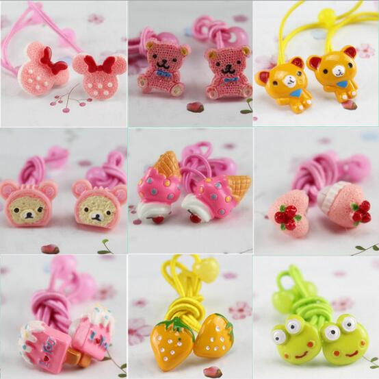 2015 Baby girl's styling tool More cartoon elastic hiar bands headwear hair accessories for women kids make they cute lovely(China (Mainland))