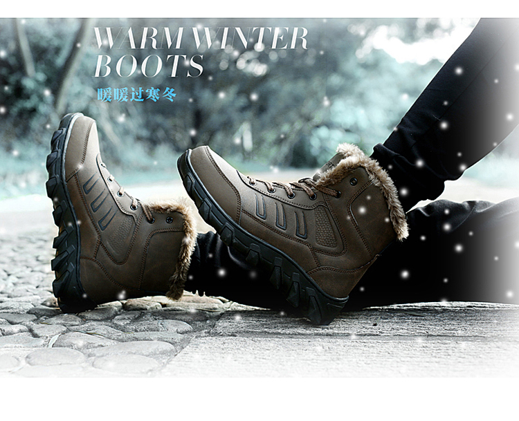 2016 Brand Army Winter Boots Men Snow Boots Military Combat Casual Plush Genuine Leather Waterproof High Top Ankle Fur Boots Men
