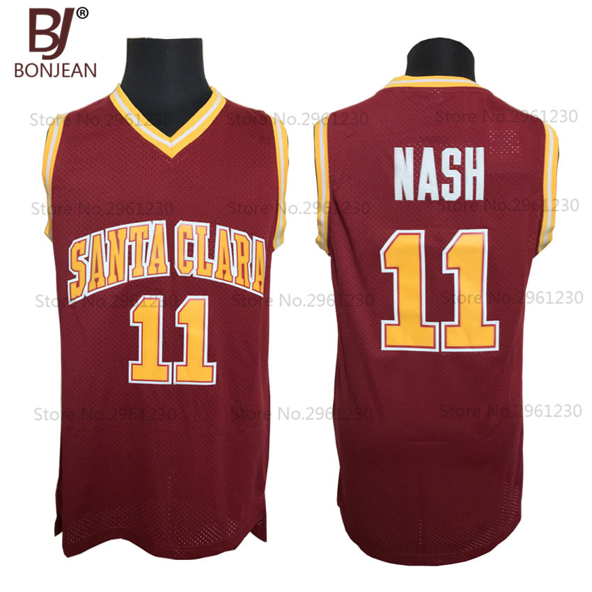 Wholesale Cheap College Basketball Jerseys #11 Steve Nash Jersey Santa Clara Throwback Stitched Burgundy Red Mens Shirts(China (Mainland))