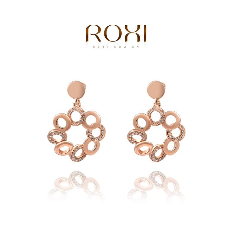 ROXI best friend gift big flower earrings women rose gold white plated created crystal freeshipping - international trading LTD ( and retail store)