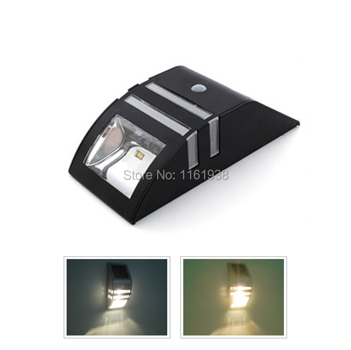 Black Solar Power Motion Sensor 2 LED White/Warm White Light PIR with Dim Mode Garden Outdoor Wall Path Security Lamp(China (Mainland))