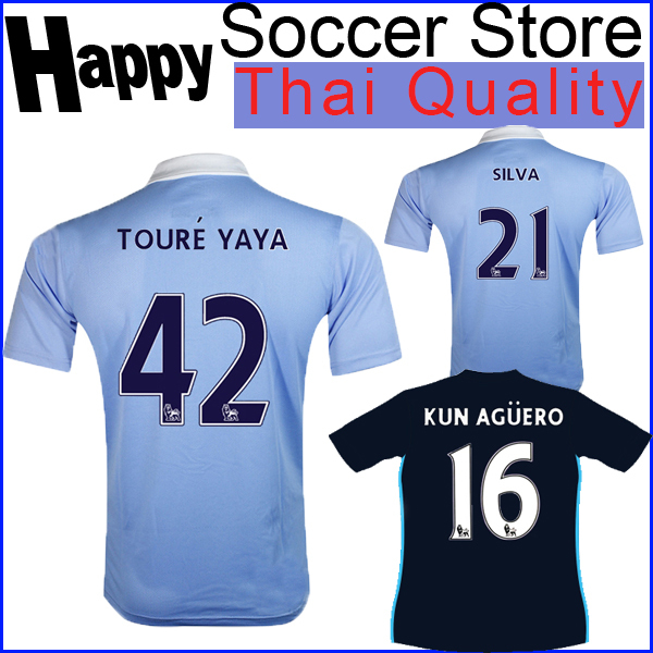 City jersey 2015 2016 Home blue Away deep blue SILVA TOURE YAYA DZEKO KUN AGUERO 15 16 azul claro marino Football Shirt Uniform(China (Mainland))