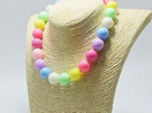 Handmade Plastic Beads Necklace For Sale, Chunky Candy Color Short Necklace For Women(China (Mainland))