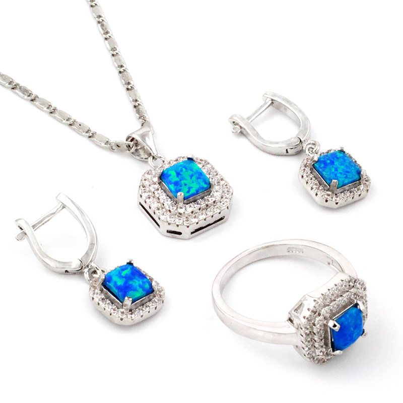 Fashion Party Women Opal 925 Sterling Silver Jewellery Set Pendant / Ring / Earrings Sterling-silver-jewelry Jewelry Sets(China (Mainland))
