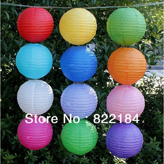 "Free Shipping 8"" (20cm) 25 Pcs/Lot Hang Chinese Paper Lanterns Paper Lanterns For Wedding Party Decorations(China (Mainland))"