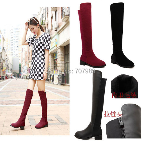 Cheap Fashion Winter Jackboots Over The Knee Boots For Women PU/Faux Suede Upper Stretch Fabric Zipper Slim Boots 2Styles