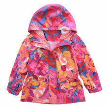 2016 spring new brand fashion girls jacket hooded kids trench coats camouflage print waterproof girls outerwear  3-10Y(China (Mainland))
