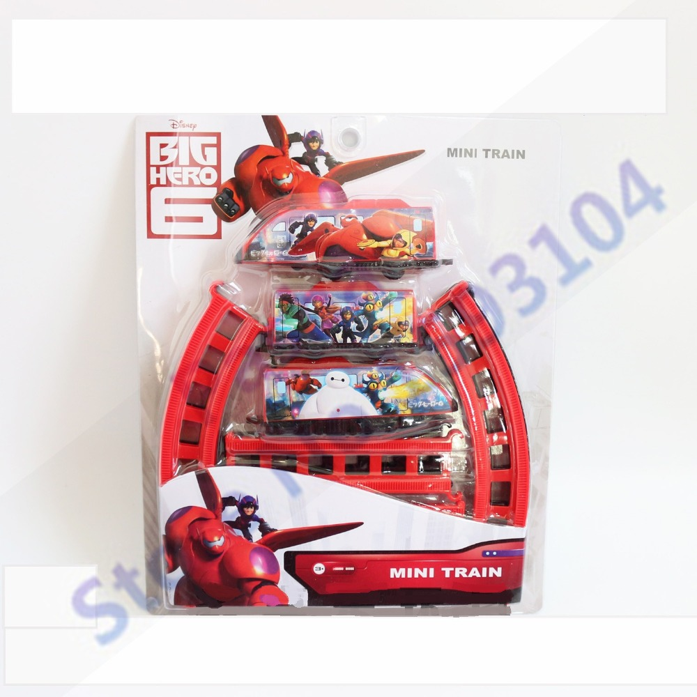 Big Hero 6 Series Super Marines Movie & TV Theme Electric Car Educational ABS Plastic Toy Train for Building Kids family fun(China (Mainland))