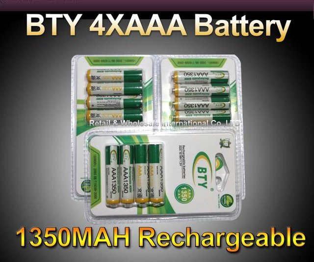 FREE SHIPPING,12pcsX AAA 1350mAh 1.2V Ni-MH Rechargeable Batteries Pack DC915