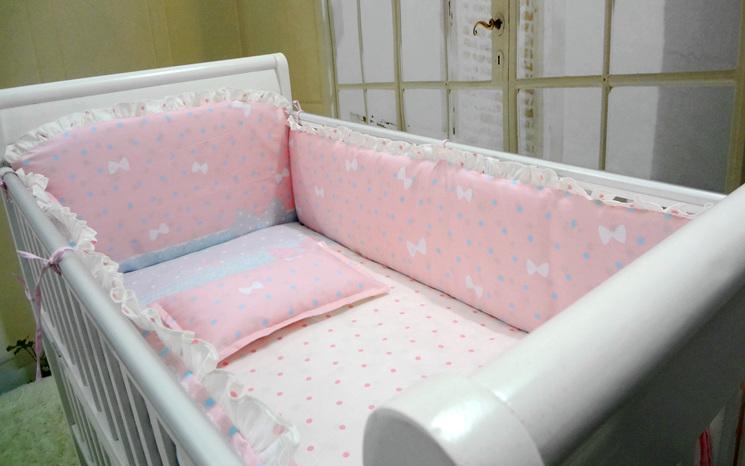 Promotion 6pcs Pink Baby Crib Bedding Set Newborn Cot Bed
