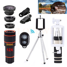 Buy Phone Lens Kit 12X Telephoto Zoom Lentes Telescope Fisheye Wide Angle Macro Lenses Microscope iPhone 6 6s 7 Huawei HTC for $15.22 in AliExpress store