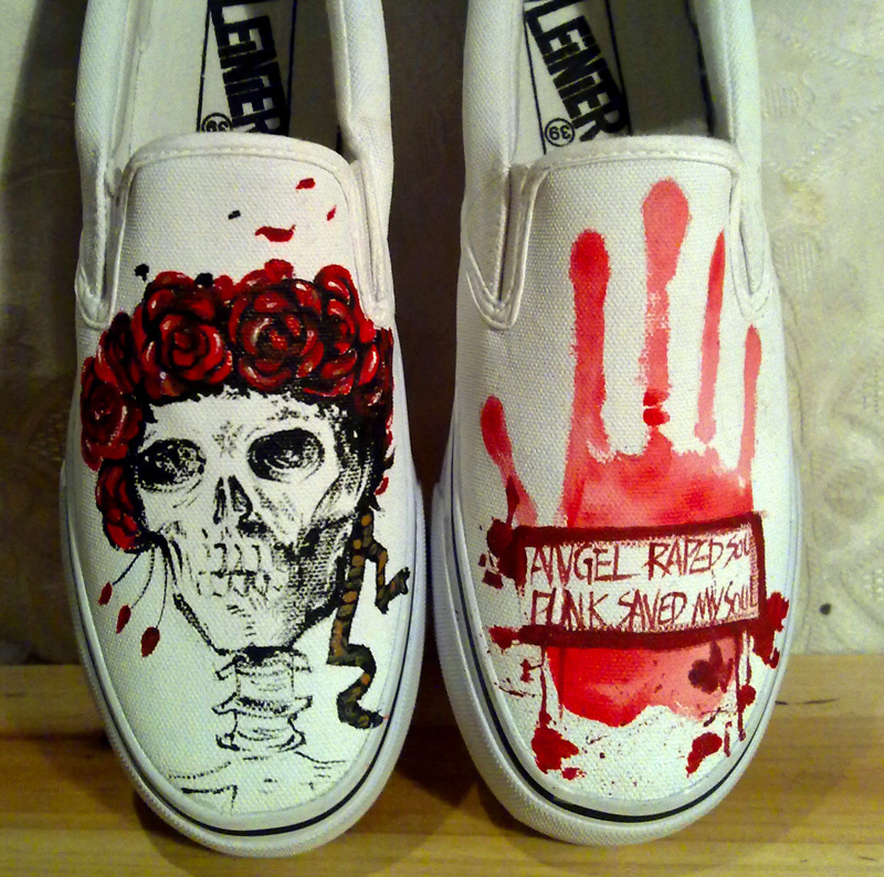 size 35 44 painted canvas shoes skull