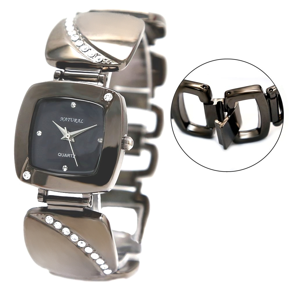 NATURAL Brand Gunmetal Band Square Gunmetal Tone Watchcase Ladies Fashion Watch Free Shipping FW677C(China (Mainland))