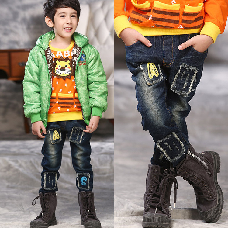 Hot sale baby boys jeans top quality new Letter embroidery patchwork sides children jeans kids ...
