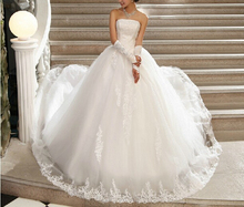 Women 2016 Wedding Dresses strapless lace wedding gown applique with big bowknot adornment trailing bud silk wedding dress(China (Mainland))