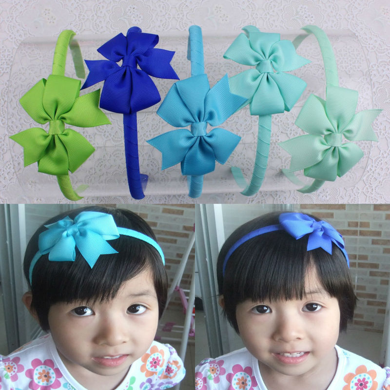 Wholesale 5pcs Baby Girl Grosgrain Ribbon Hair Band Accesorries Headwear B002-MIX3-5pc(China (Mainland))