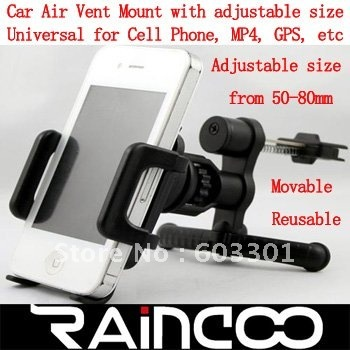 Car air vent mount holder, cell phone holder on car air vent, mobile phone mount on car air vent, retail packing