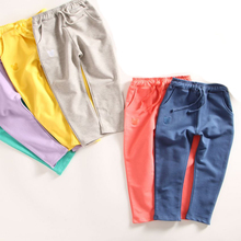 Kids Pants 2015 autumn Children's straight trousers for Boys solid cotton Kids harem pants terry high quality Girls pants(China (Mainland))