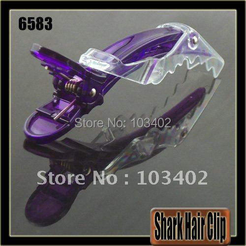 "200pcs/lot, Translucent Hairdressing Hair Clip, 4 1/4"" New Style Hair Grip Clip, Hair Shark Clip (Purple)(China (Mainland))"