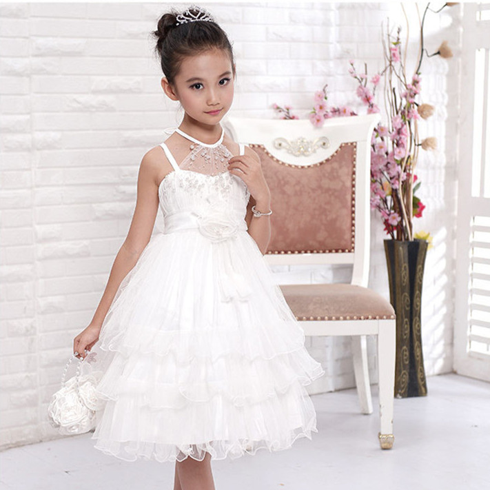 Girls flower girl dress for wedding party pearl decorated for 10 year old dresses for weddings
