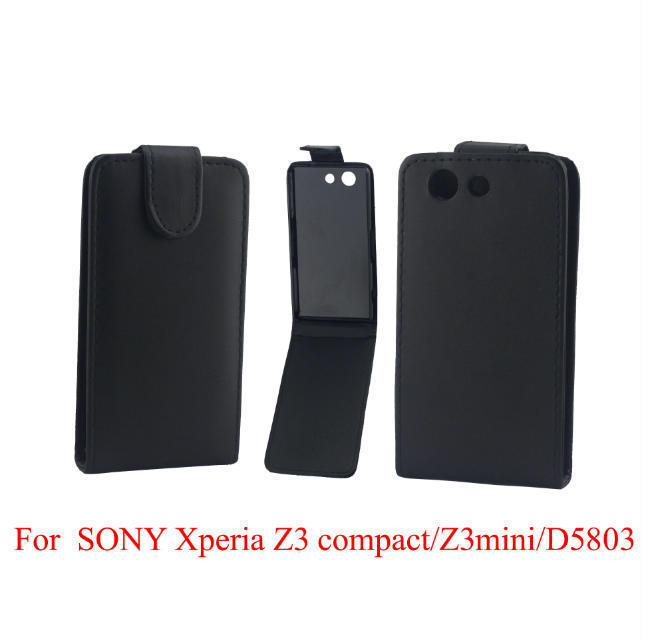 1 Piece/Lot Black Vertical Cikou Flip PU Leather Phone Case Sony Xperia Z3 Compact M55W mini D5803 D5833 - ErDong International Trade Co., Ltd. store