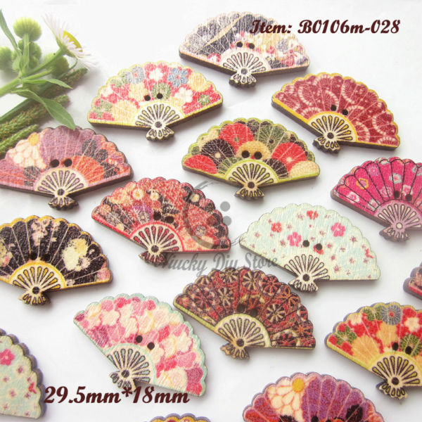 Scrapbooking buttons 100pcs mixed pattern folding fan for Decorative buttons for crafts