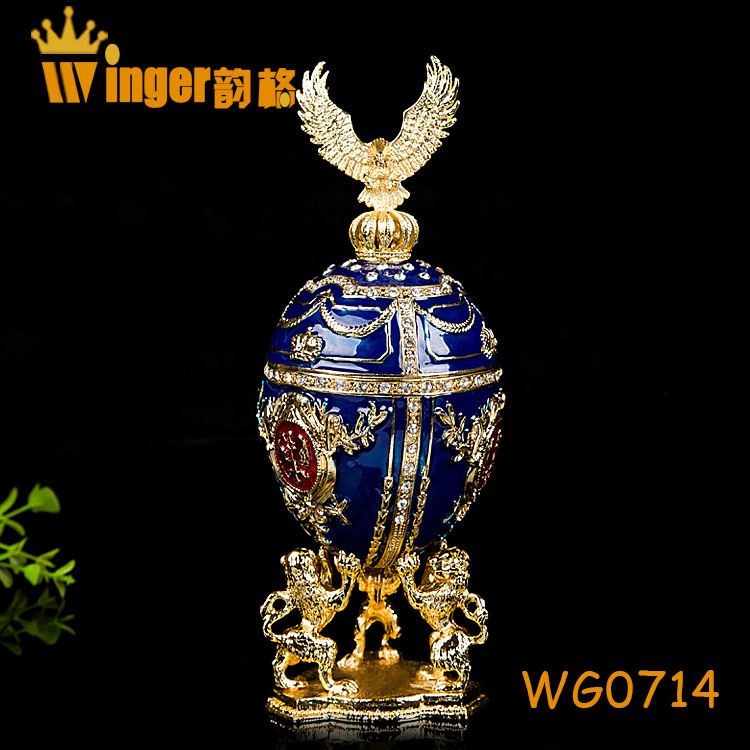 Eagle Decoration Faberge Russia Eggs Trinket Box Sculpture Casket Vintage Home Decoration Easter Egg Magnet Metal Crafts(China (Mainland))