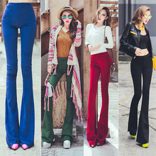 2015 Autumn women vintage HIgh waist butt-lifting full length corduroy Suede Flare Pants Women's Stretch Velvet Flared Trousers(China (Mainland))