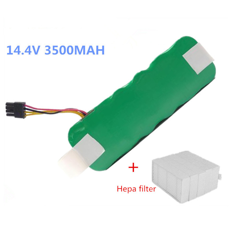 14.4V 3500mAh vacuum Cleaner Battery High quality Battery for Ecovacs Mirror CR120 X500 X580 battery+2pcs Filters(China (Mainland))
