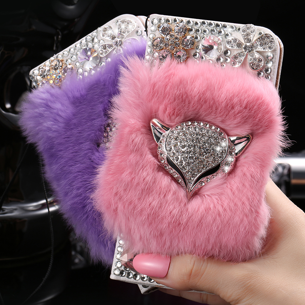 Bling Fox Head Rabbit Fur Hair Flip Leather Case For iPhone 6 6S Glitter Crystal Flower Wallet Pouch Cover For iPhone 6/6S Plus(China (Mainland))