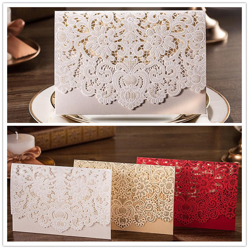 White Inviting Card Lace Elegant Laser Cut Baby Shower Paper Event Party Decoration Luxury Romantic Wedding Invitation(China (Mainland))