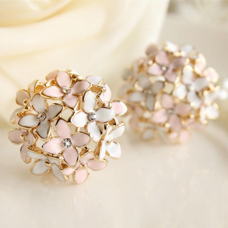 Pink Blue Flower Four Leaf Stud Earrings Clove Designer New 2015 Spring pendientes Brincos for Womens E2041(China (Mainland))