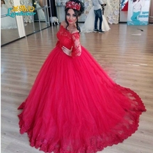Red Ball Gown Wedding Dresses 2016 Vestido de noiva Vintage Lace Appliques Bridal Gowns Romantic long sleeve Arab Wedding Dress(China (Mainland))