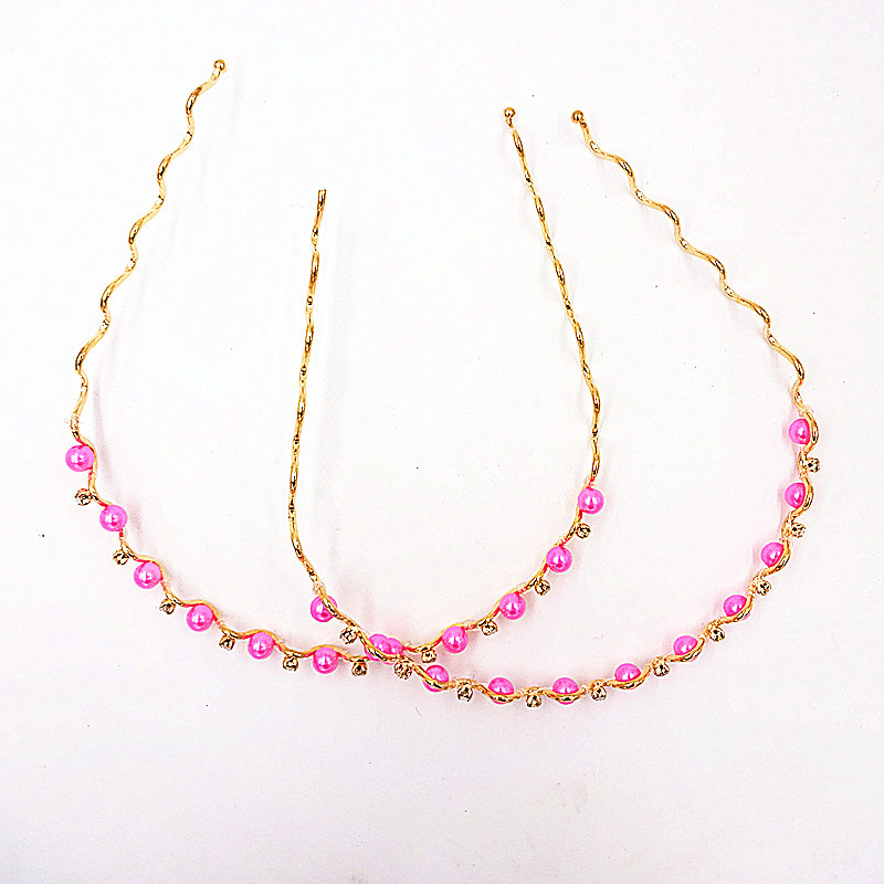 2 Pieces Children Fashion Hair Accessories Pink Hairbands With Diamond Free Shipping Model 58(China (Mainland))