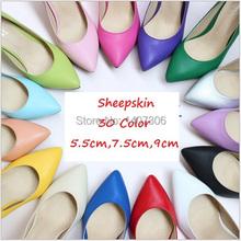 30 Color 2015 Women Sex High Heels Shoes Sheepskin Pointed Toe Pumps Women Nude Pink Wedding Shoes 9cm 7.5cm 5.5cm Plus Size(China (Mainland))