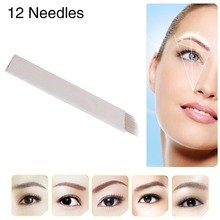 Famous Brand CHUSE S12 High Quality Permanent Makeup Blade Manual Eyebrow Tattoo Pen Blades 12 Needles 50Pieces/Lot(China (Mainland))