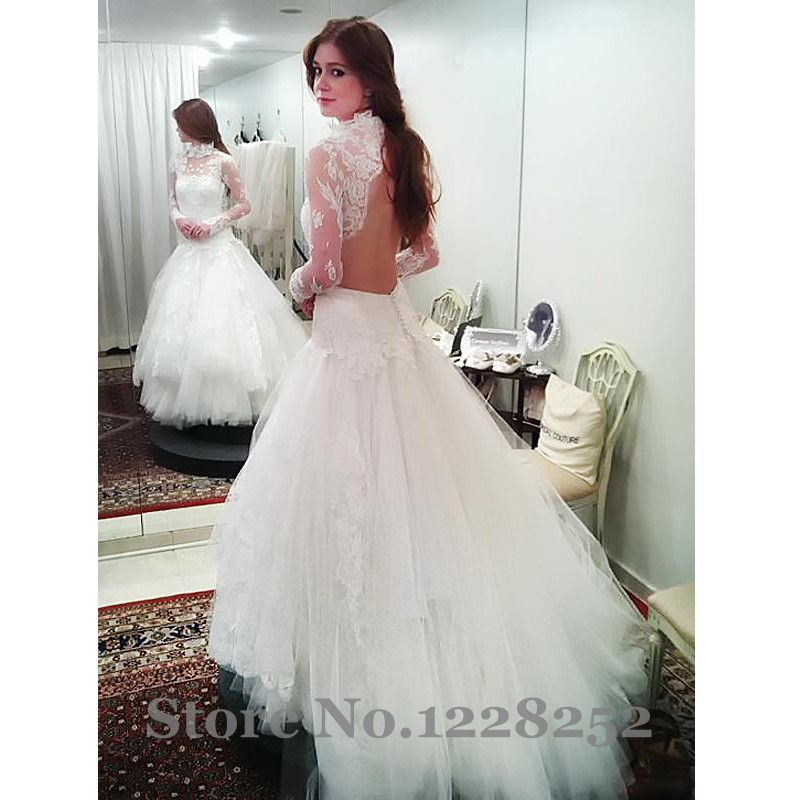 Elegant high neck wedding dresses with long sleeve for High neck backless wedding dress