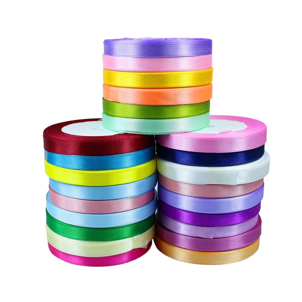 Silk Satin Ribbon Wedding Party Decoration Gift Wrapping Christmas New Year Decor Supplies 10mm 25 Yards