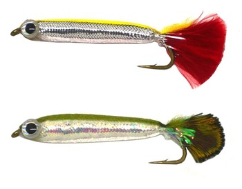 2pcs Bass Trout Salmon Steelhead Pike Flies Silver Sides Shad Minnow NEW salmon