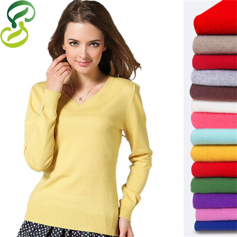 2016 Cashmere Wool Sweater Women Knitted Pullovers Long Sleeve Sexy V-Neck Slim Knitwear Plus Size XXL Winter Jumper pull femme(China (Mainland))