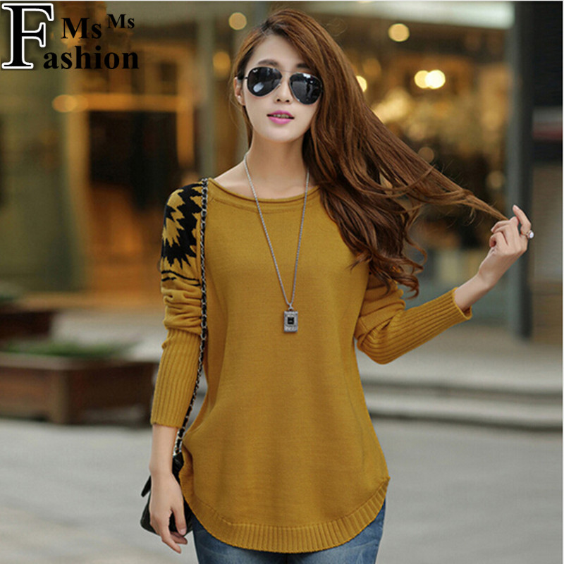 New 2015 Autumn Winter Women's Loose Coat Long Sweaters Fashion Crocheted Casual Pullovers Clothing Women Tops Pullover Sweater