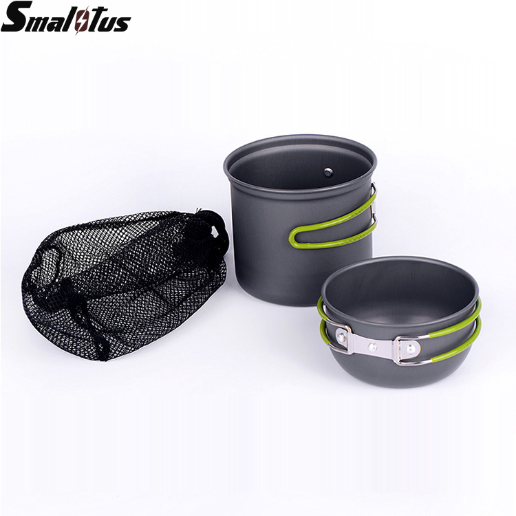 Portable Aluminum Alloy Pot 1-2 People Outdoor Cooking Anodised Non-stick Pot Camping Cookware Set Picnic Bowl Hiking Utensils(China (Mainland))