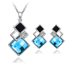 4 colors New Arrival White/18K Gold Crystal Jewelry Sets Geometry Square  Fashion Jewelry Sets For Women Necklace Earrings Set(China (Mainland))
