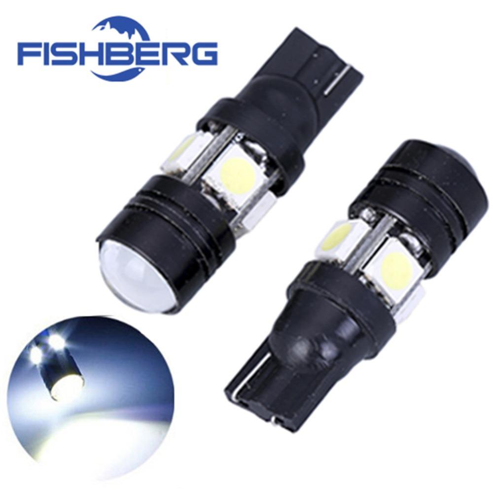 Led Parking Lot Lights Bulbs: 2pcs/lot T10 LED W5W Light Bulbs 5050 SMD Lens 4 LED 12V