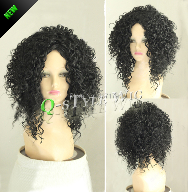 kinky curly synthetic wigs black color afro fluffy wig deep volume coarse hair women girls - Queen Style trade Co.,Ltd store