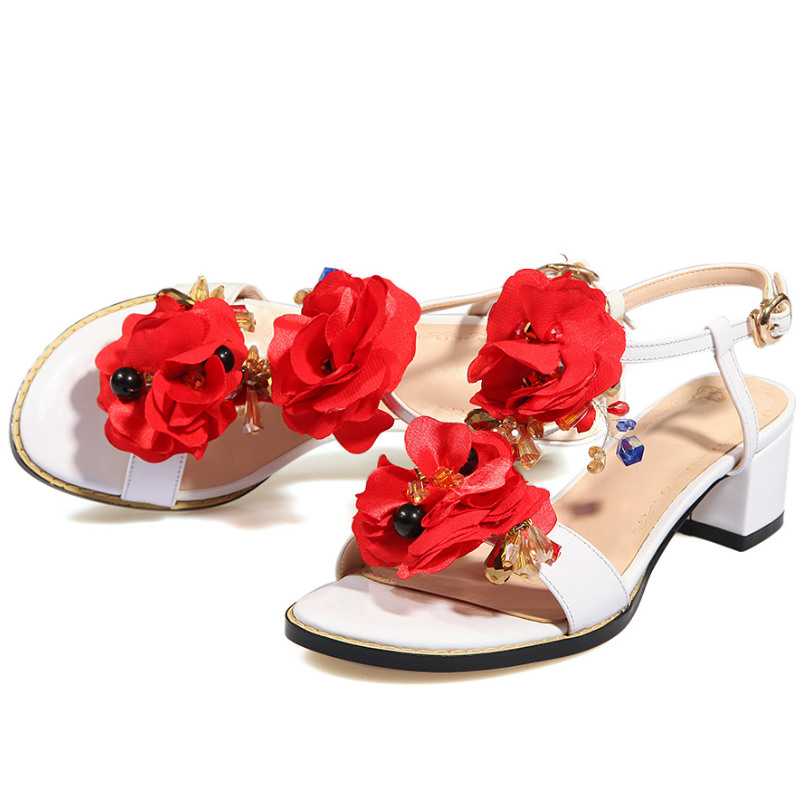 Фотография 2016 Summer fashion Flowers women genuine full grain leather 4.5cm low square heel sandals shoes ladies ankle-strap sandals