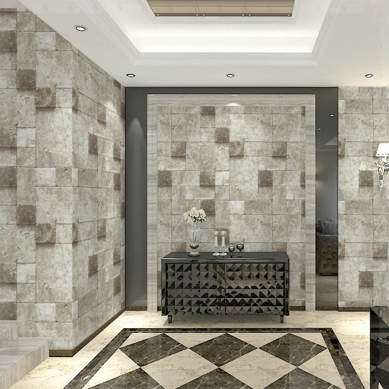Chinese style stone brick pattern wallpaper living room for Stone wallpaper for living room